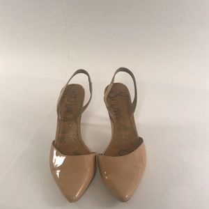 "Sam Edelman ""Orly"" Nude Patent Heels size 8W"